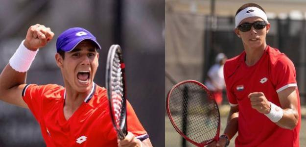 En la gráfica Daniel Vallejo (2 victorias) y Martín Vergara (un triunfo) en la reciente Copa Davis, en marzo en el CIT.